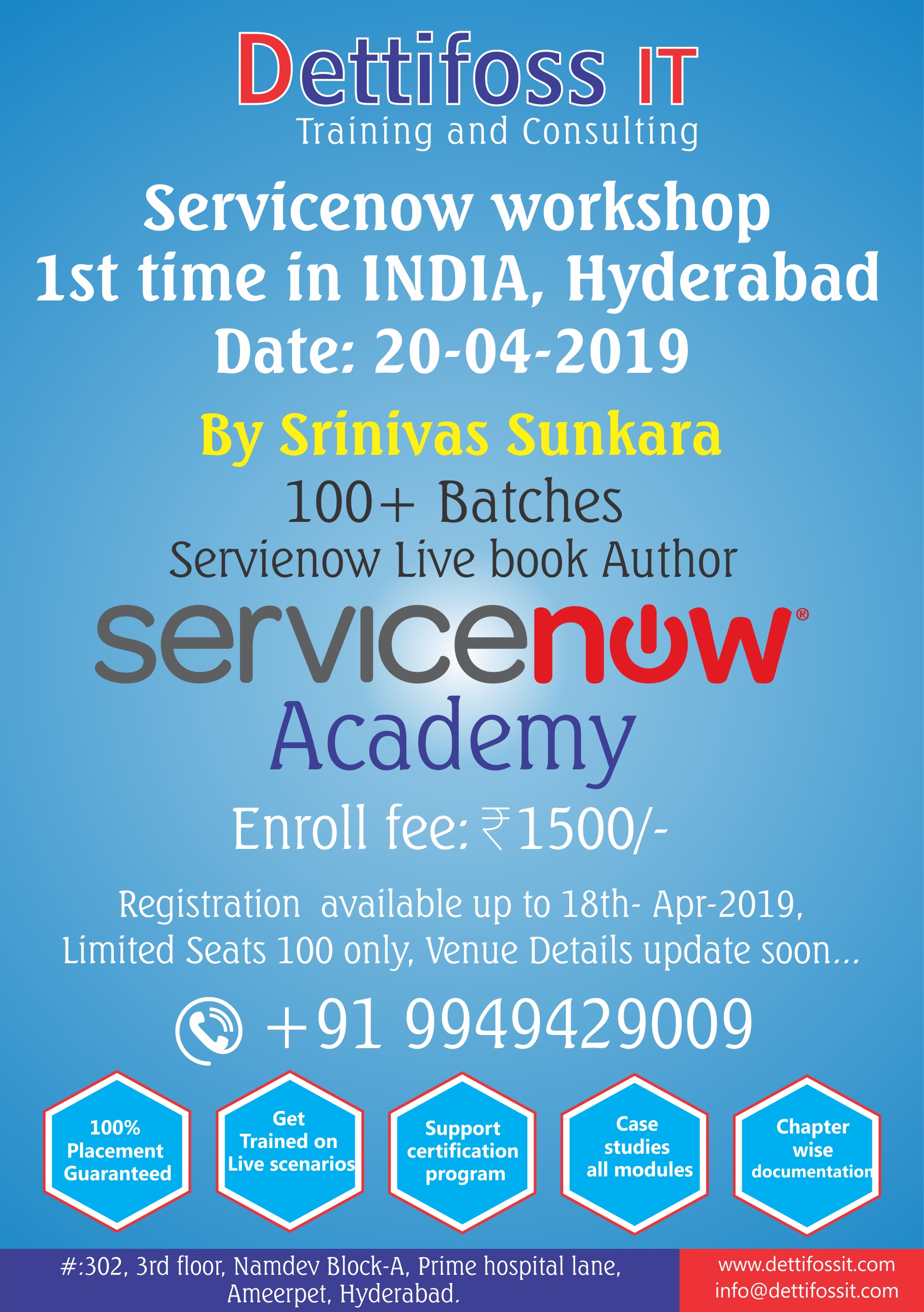 Servicenow workshop 1st time in INDIA, Hyderabad Date: 20-04-2019 By Srinivas Sunkara