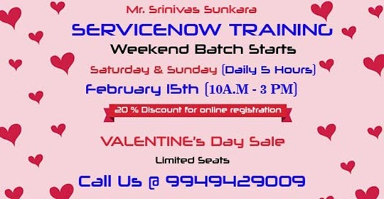 Valentines' Day - 20%Off on Weekend Servicenow Training